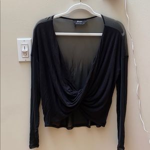 Nasty Gal black half sheer top - size S
